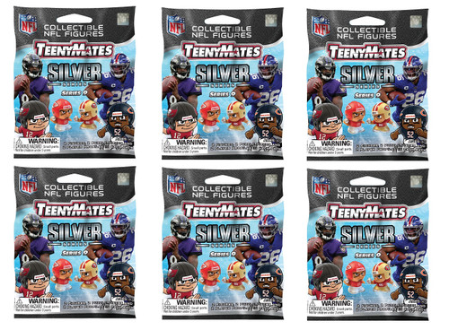 Party Animal NFL TeenyMates SERIES 9 SILVER SERIES Figurines Mystery Packs (6 Packs)