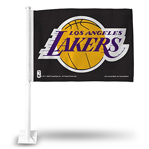 NBA Los Angeles Lakers Black Car Flag with White Pole