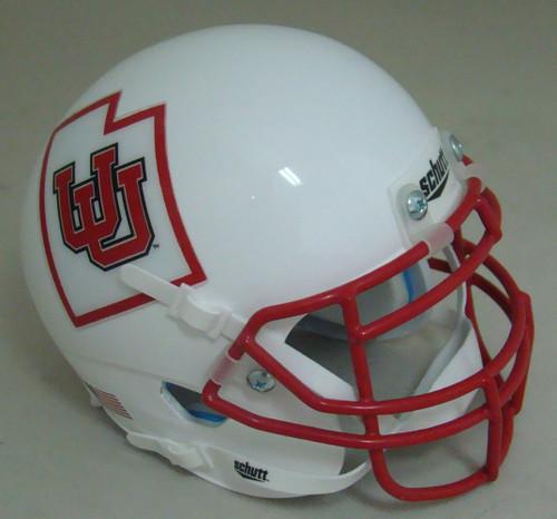 Utah Utes Alternate White UU with Red Mask Schutt Mini Authentic Football Helmet