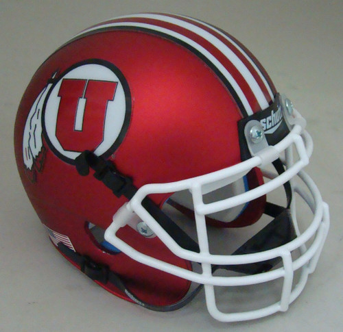Utah Utes Alternate Satin Red with White Mask Schutt Mini Authentic Football Helmet