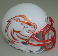 Boise State Broncos White with Chrome Mask Schutt Mini Authentic Helmet