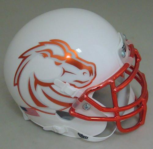 Boise State Broncos White with Chrome Mask Schutt Mini Authentic Helmet
