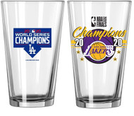 Los Angeles Dodgers and Lakers 2020 Champions Official 16 oz. Pint Beer Glass Combo