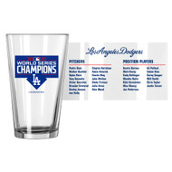 Los Angeles Dodgers 2020 World Series Champions Official 16 oz. Roster Pint Glass