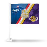 Los Angeles Dodgers and Lakers 2020 City of Champions Car Flag