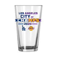 Los Angeles Dodgers and Lakers City of Champions 16 oz. Pint Beer Glass