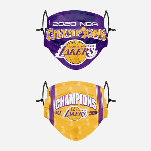 Los Angeles Lakers NBA Champions Adjustable 2 PACK Face Cover Guard Mask Facemask