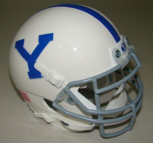 BYU Brigham Young Cougars Alternate White with Gray Mask Schutt Mini Authentic Helmet
