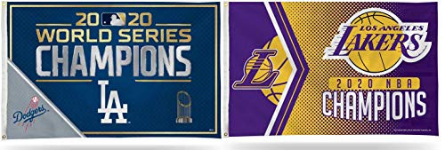 Los Angeles Dodgers and Lakers 2020 World Champions Banner Flag Combo - 3' x 5'