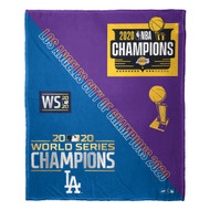 "Los Angeles Dodgers and Lakers 2020 CITY OF CHAMPIONS 50"" x 60"" Silk Touch Throw Blanket"