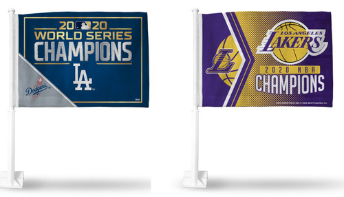 Los Angeles Dodgers and Lakers 2020 World Champions Car Flag Combo - 2 Car Flags 11 x 15-inches