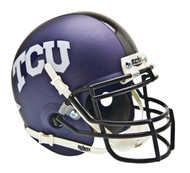 TCU Texas Christian Horned Frogs Alternate Matte Purple AquaTech Schutt Mini Authentic Helmet