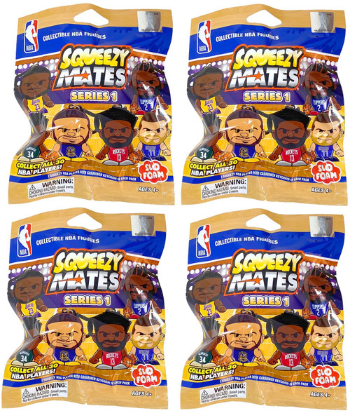 SqueezyMates NBA Basketball Gravity Feed Figurines by Teenymates - SERIES 1 - Lot of 4 Mystery Packs