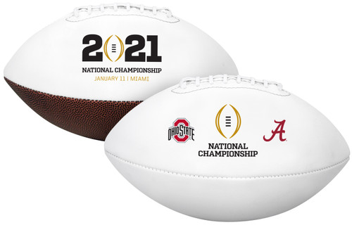 2021 CFP OFFICIAL SIZE AUTOGRAPH DUELING FOOTBALL - Ohio State vs. Alabama