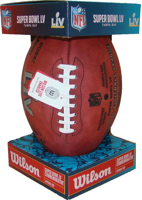 Super Bowl LV (Fifty-Five) 55 Kansas City Chiefs vs. Tampa Bay Buccaneers Official Leather Authentic Game Football by Wilson
