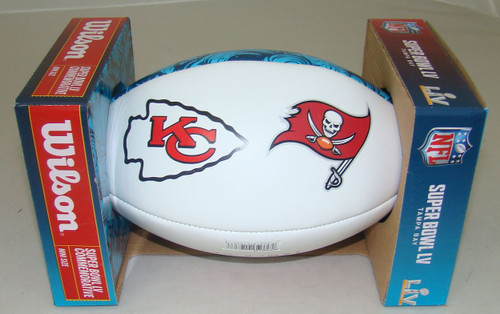 Super Bowl LV 55 Official White Panel Dueling Autograph Mini Football by Wilson (Boxed) Chiefs vs. Buccaneers