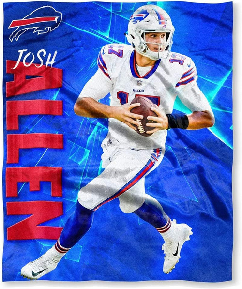 "Josh Allen NFL Buffalo Bills Silk Touch Throw Blanket Size 50"" x 60"""
