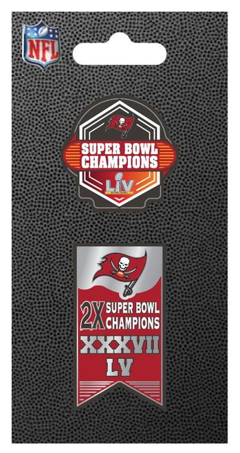 Tampa Bay Buccaneers Super Bowl LV 55 Champions Lapel 2-Pin Set