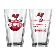 Tampa Bay Buccaneers Super Bowl LV 55 Champions Game Score Summary 16 oz. Beer Pint Glass