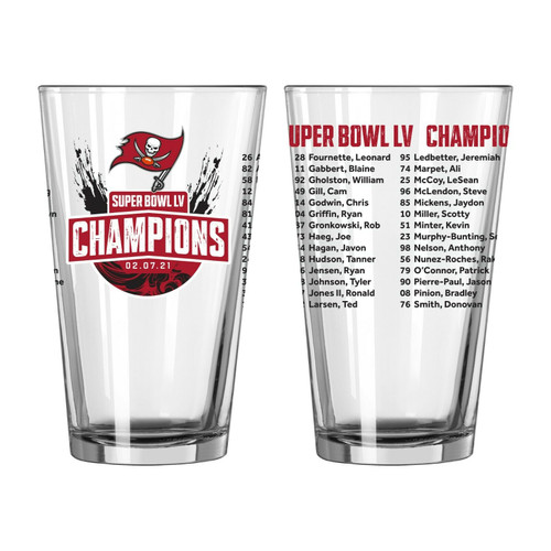 Tampa Bay Buccaneers Super Bowl LV 55 Champions 16 oz. Team Roster Beer Pint Glass