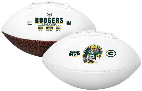 Aaron Rodgers Green Bay Packers 2020 NFL MVP Logo Autograph Full Size Football