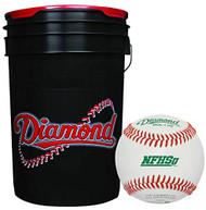 Diamond 6-Gallon Bucket with 30 Diamond DOL-1 HS NFHS Leather Baseballs