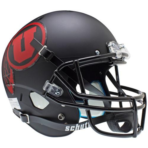 Utah Utes Alternate Black Matte (Red Logo) Schutt Full Size Replica XP Football Helmet