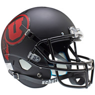 Utah Utes Alternate Black Matte (Red Logo) Schutt Full Size Replica XP Football Helmet