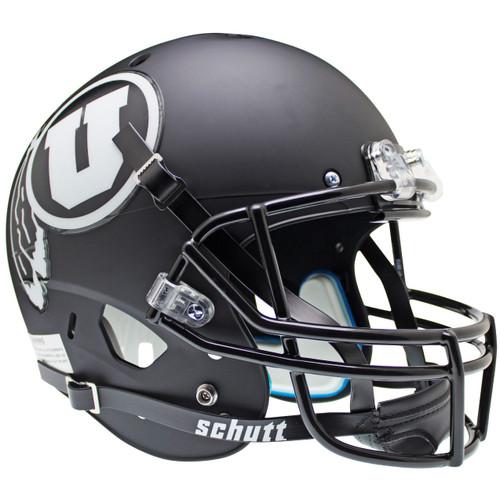 Utah Utes Alternate Black Matte (White Logo) Schutt Full Size Replica XP Football Helmet