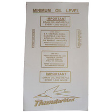Decal Sheet, Thunderbird, Complete, Triumph Thunderbird Motorcycles, 155A
