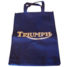 Blue Canvas Handle Tote with White Triumph Motorcycle Logo