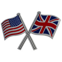 Crossed Flag Sticker, USA Flag / British Flag, BSA, Norton, Triumph Motorcycles, 24-UJ4