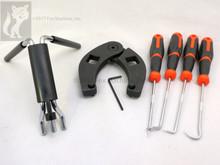 Skid steer-Compact tractor loader cylinder tool kit, Gland Wrench Seal Installer aller, picks
