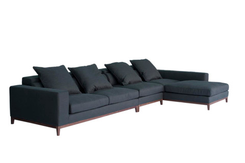 Angled view of a 4 Seater & Long Chaise Right sofa in Grey [Fine Weave] fabric