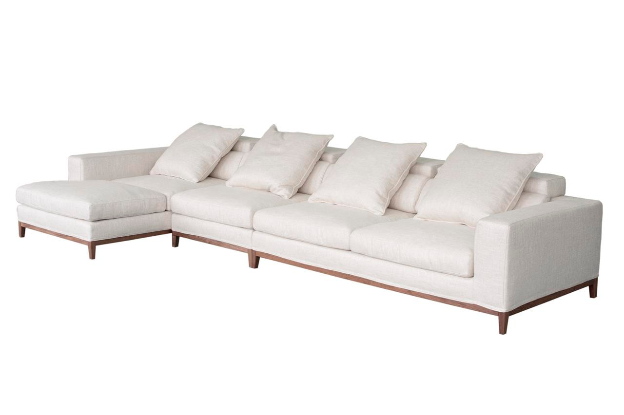 Oslo Sofa 4 Seater Amp Compact Chaise Left Cream Soft To