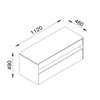 Small Taylor Entertainment Unit Line Drawing with Dimensions (in millimetres) Isometric View