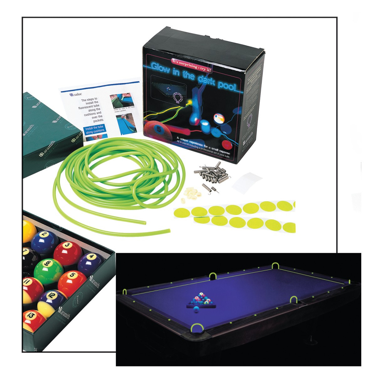 Superb Aramith Glow In The Dark Pool Table Kit Home Interior And Landscaping Ponolsignezvosmurscom
