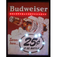 Neon LED illuminated retro Budweiser ad artwork