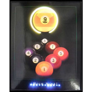"""High Nine"" LED illuminated billiards artwork"
