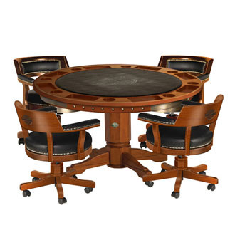 poker table with chairs H D® Bar & Shield Flames Poker Table & Chairs Set w/Heritage Brown  poker table with chairs