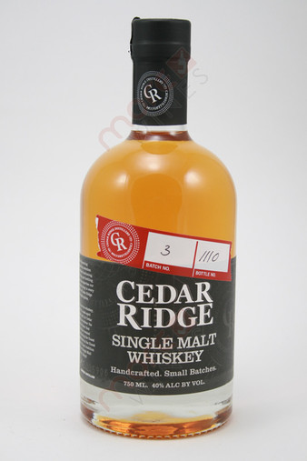 Cedar Ridge Single Malt Whiskey 750ml