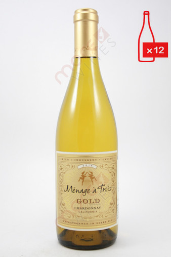 Menage a Trois Gold Chardonnay 750ml (Case of 12) FREE SHIPPING $11.99/Bottle
