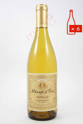 Menage a Trois Gold Chardonnay 750ml (Case of 6) FREE SHIPPING $11.99/Bottle