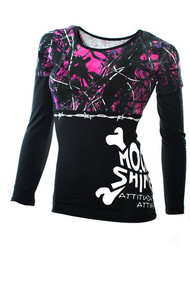 Moon Shine Attitude Attire Muddy Girl Barbed Wire Black Long Seeve - X-Large,...