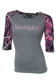 Muddy Girl Camo Baseball Tee (XS) [Apparel]