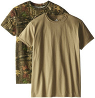 Mossy Oak Men's 2 Pack Crew Neck T-Shirts, Assorted Prairie Dust/Break Up Small
