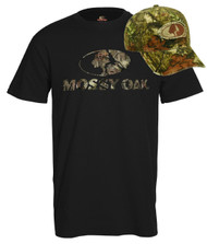 Mossy Oak Black Front Logo Hunting T-Shirt & Infinity Hat Combo [Misc.]