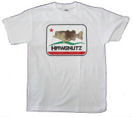Large Mouth Bass Fishing Hawgnutz California Flag Bass T-Shirt (Medium, White)