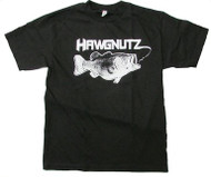 Large Mouth Bass Fishing Hawgnutz World Record Bass T-Shirt (Medium, Black)