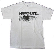 Large Mouth Bass Fishing Hawgnutz World Record Bass T-Shirt (Medium, White)